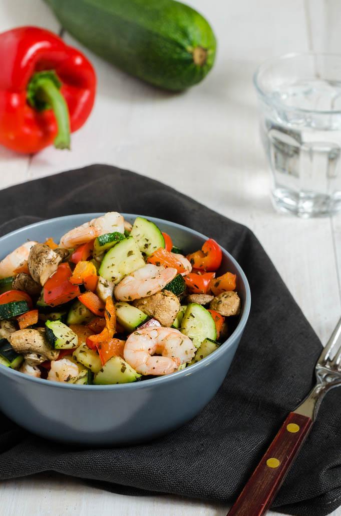 Gegrilde groenten met garnalen uit de Airfryer